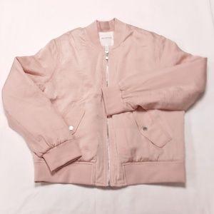Avec Les Filles Pink Satin Bomber Jacket M